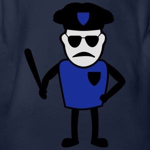 Policeman with truncheon - Organic Short-sleeved Baby Bodysuit