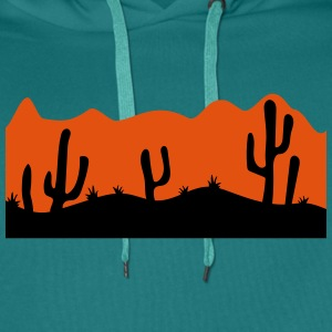 desert evening night sunset sunrise kakten cactus  T-Shirts - Men's Premium Hoodie