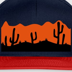 desert evening night sunset sunrise kakten cactus  T-Shirts - Snapback Cap