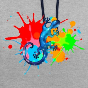 Space Gecko, Lizard, Color, Splash, Festival Tee shirts - Sweat-shirt contraste