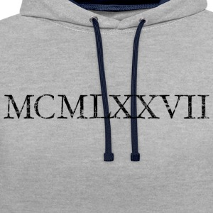 MCMLXXVII 1977 Roman Birthday Year T-Shirts - Contrast Colour Hoodie