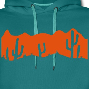 pattern desert evening night sunset sunrise kakten T-Shirts - Men's Premium Hoodie
