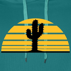 cactus, desert sunset strip lines sunrises T-Shirts - Men's Premium Hoodie