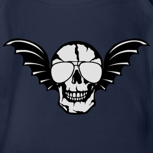 Wing bald skull bat 0 Shirts - Organic Short-sleeved Baby Bodysuit