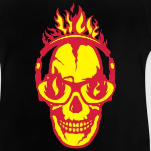 Skull Crossbones Headphones flame fire Shirts - Baby T-Shirt