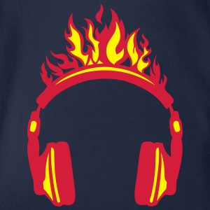 Headphones flame fire music 2004 Shirts - Organic Short-sleeved Baby Bodysuit