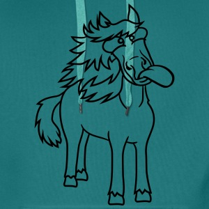 crazy funny grimace beautiful pony stallion riding T-Shirts - Men's Premium Hoodie
