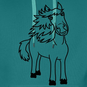 beautiful horse pony stallion riding white comic c T-Shirts - Men's Premium Hoodie