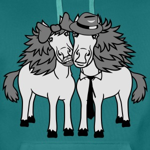 couple love couple in love 2 horse mare stallion m T-Shirts - Men's Premium Hoodie