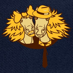 faces couple love couple in love 2 horse mare stal T-Shirts - Snapback Cap