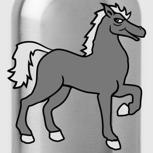 cool riding horse stallion equestrian comic cartoo T-Shirts - Water Bottle