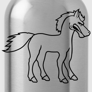 comic cartoon angry angry public stallion logo des T-Shirts - Water Bottle