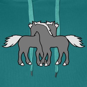 2 horses couple couple love love mare stallion cud T-Shirts - Men's Premium Hoodie