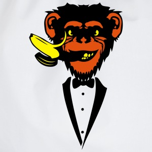 Chimpanzee monkey Banana mouth   suit T-Shirts - Drawstring Bag