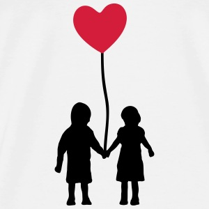 Kids and heart balloon Topper - Premium T-skjorte for menn