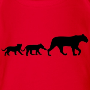 Lioness and lion cubs T-shirts - Ekologisk kortärmad babybody