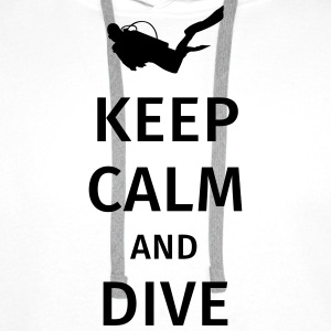 keep calm and dive Camisetas - Sudadera con capucha premium para hombre