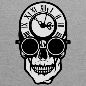 Skull death head clock halloween 2203 T-Shirts - Contrast Colour Hoodie