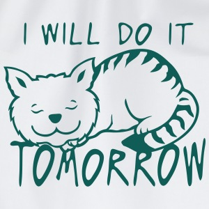 i will do it tomorrow cat quote  Aprons - Drawstring Bag