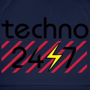techno 24/7 love electro edm beats nightlife rave T-Shirts - Baseballkappe