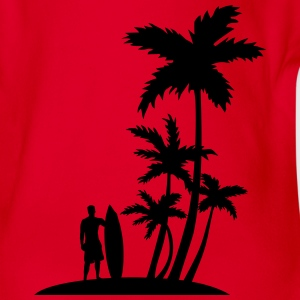 Palm trees and surfer Tee shirts - Body bébé bio manches courtes