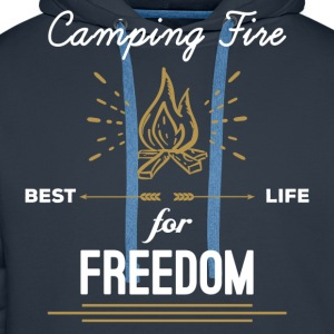 Camping Fire - Best Life For Freedom T-Shirts - Men's Premium Hoodie