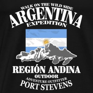 Argentina - Flag & Mountains Tops - Camiseta premium hombre