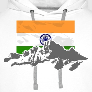 India - Indien - Flag & Mountains Langarmshirts - Männer Premium Hoodie