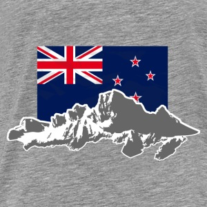 New Zealand - Mountains & Flag Tröjor - Premium-T-shirt herr