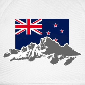 New Zealand - Mountains & Flag Magliette - Cappello con visiera