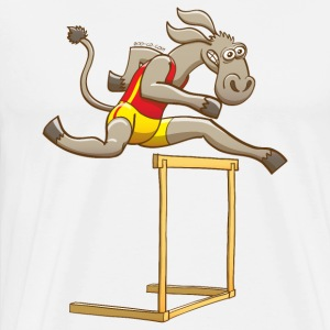 Donkey Running and Jumping in a Hurdling Race Sports wear - Men's Premium T-Shirt