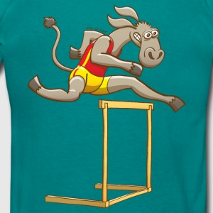 Donkey Running and Jumping in a Hurdling Race Hoodies & Sweatshirts - Men's T-Shirt