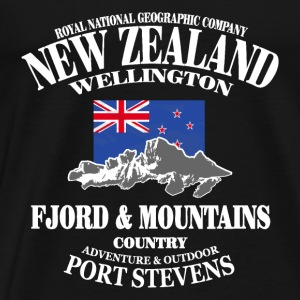 New Zealand - Mountains & Flag Langarmshirts - Männer Premium T-Shirt