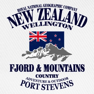 New Zealand - Mountains & Flag Top - Cappello con visiera