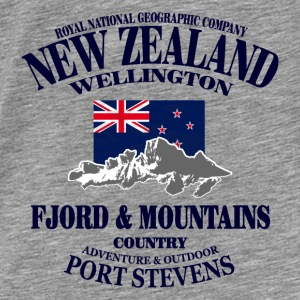 New Zealand - Mountains & Flag Gensere - Premium T-skjorte for menn