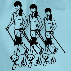 nordic walking women dog T-Shirts - Drawstring Bag