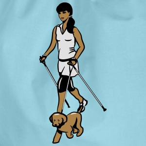 nordic walking female dog T-Shirts - Drawstring Bag