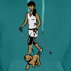 nordic walking female dog T-Shirts - Men's Premium Hoodie