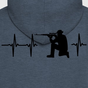 MY HEART BEATS FOR THE MILITARY T-Shirts - Men's Premium Hooded Jacket