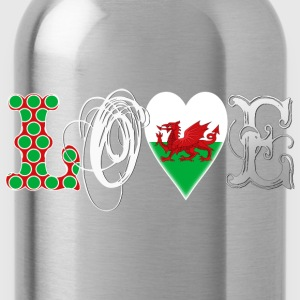 Love Wales White T-Shirts - Water Bottle