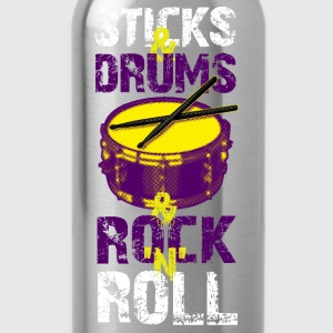 Sticks And Drums And Rock And Roll - White - Water Bottle