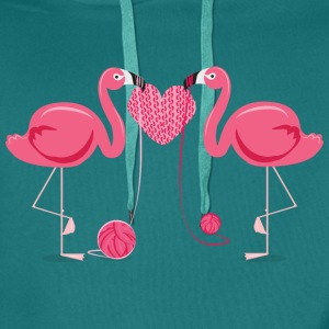 Flamingos Knit A Heart Shape Tee shirts - Sweat-shirt à capuche Premium pour hommes