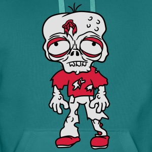 sad tired zombie funny face head undead horror mon T-Shirts - Men's Premium Hoodie