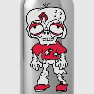 sad tired zombie funny face head undead horror mon T-Shirts - Water Bottle