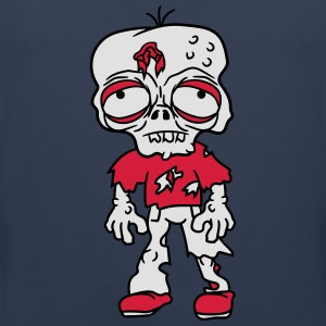 sad tired zombie funny face head undead horror mon T-Shirts - Men's Premium Tank Top