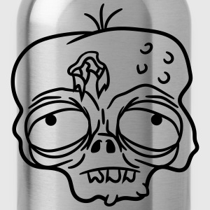 sad tired bored stupid zombie face head undead hor T-Shirts - Water Bottle