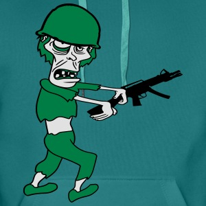 soldier machine gun military army war zombie run g T-Shirts - Men's Premium Hoodie