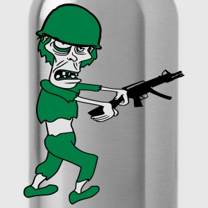 soldier machine gun military army war zombie run g T-Shirts - Water Bottle