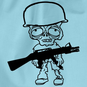 war, soldier undead maschinengewehr helm zombie fu T-Shirts - Drawstring Bag