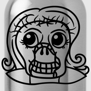 head face female girl girls undead monster hallowe T-Shirts - Water Bottle